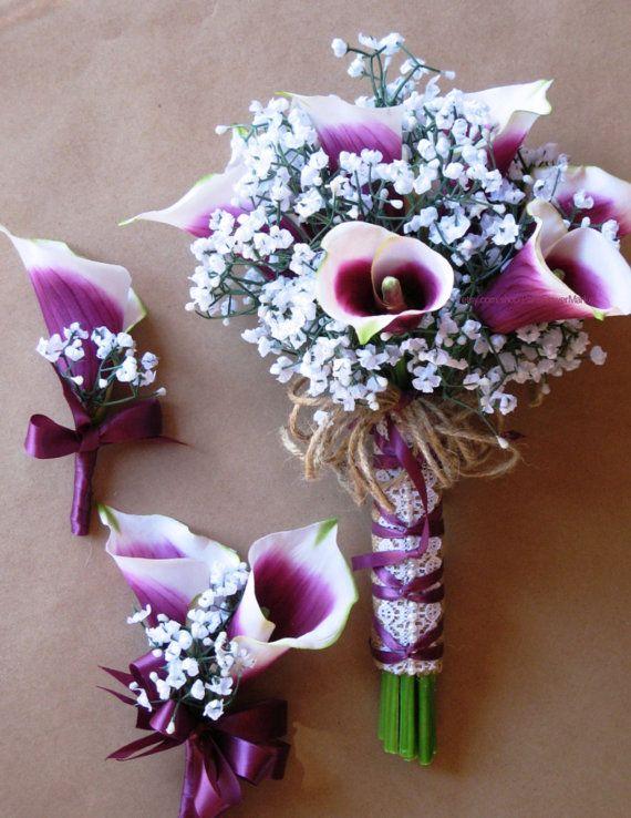Artificial Sangria Bridal Bouquet Set Picasso By ParisFlowerMarket