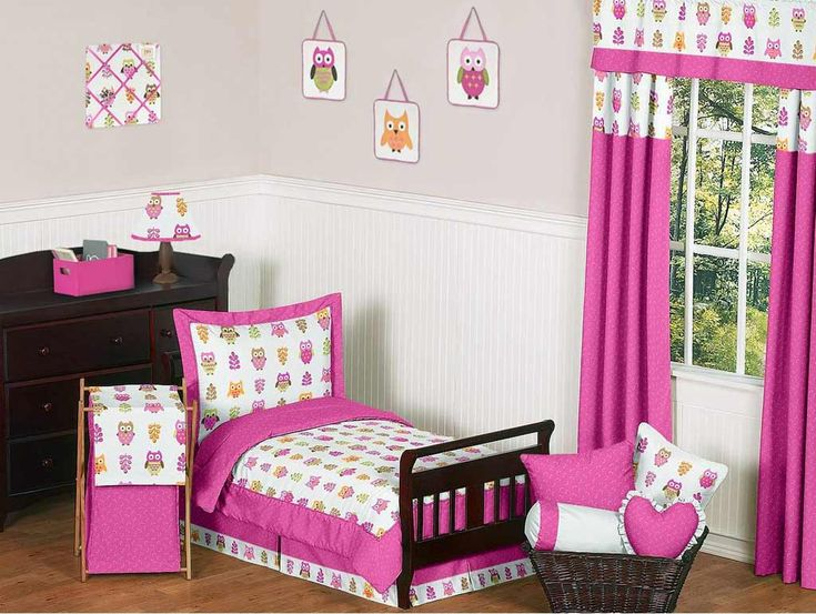Beautiful Curtains For Girls Bedroom Decoration : Witching Pink Girls Bedroom Curtain Idea with Kids Single Size Bed and Espresso Wood Dresser also Wicker Basket and Wood Floor in Catchy Girls Bedroom