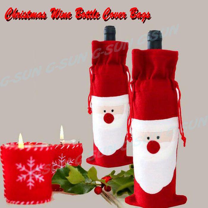 2015 Adornos навидад красное вино обложка сумки рождественский ужин настольные украшения дома ну вечеринку декоры для дед мороз новый год купить на AliExpress