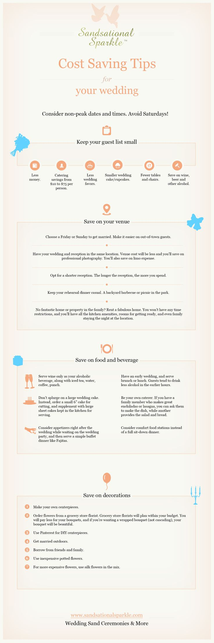 #INFOgraphic > Save on #Wedding Tips: Wedding cost can add up quick. But you can cut on the cost when planned right. From the season you have your wedding to the location of the reception, its all up to you to determine how much your wedding will cost. Have a look at wedding economics and the options you have if you are on a... > http://infographicsmania.com/save-on-wedding-tips/