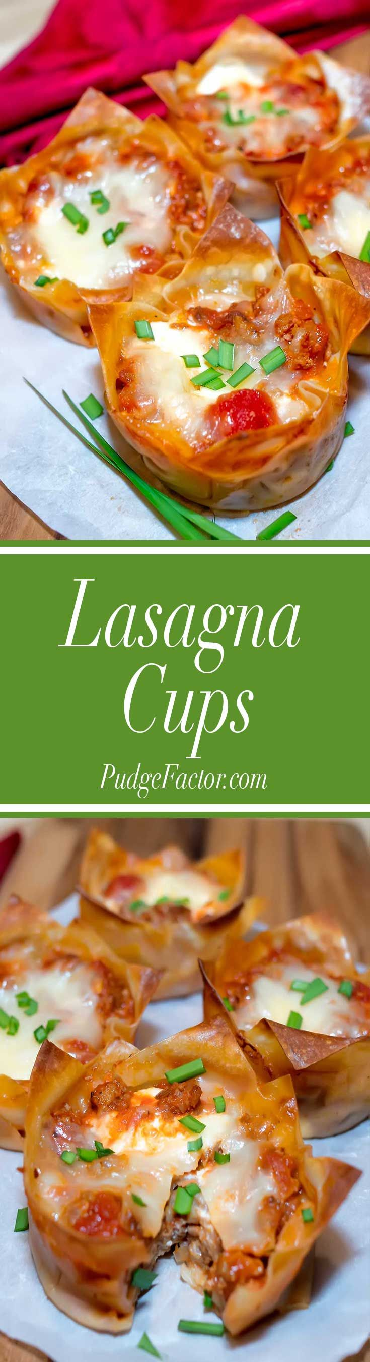 Classic lasagna ingredients, layered in wonton wrappers and baked it in a muffin tin.