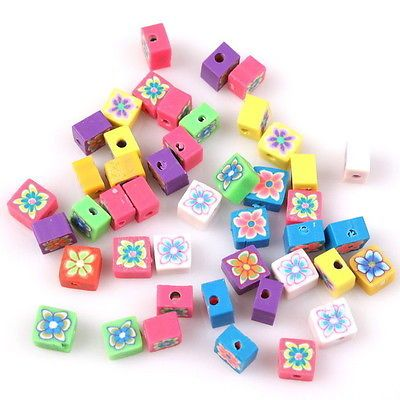 50pc 10009 New Cube Flowers FIMO Polymer Clay Beads Fit Jewelry Making (for mini me...)