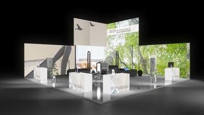446 Heizungsanlagen Zeus Sustainable   Extravaganter Messestand für einen Hersteller von Heizungsanlagen.   Der große Kopfstand macht durch den interessanten Aufbau der quadratischen Leuc...