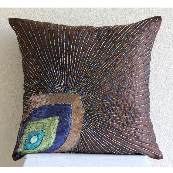Decorative Throw Pillow Covers 16x16 Silk Pillow Cover Bead Embroidered Brown Pillow Sofa Couch Pillow Cases Accent Pillow Peacock Sparkle