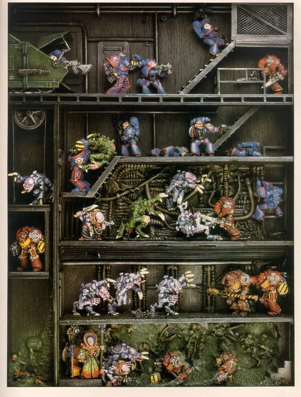 Citadel Miniatures Space Hulk/Rogue Trader dioramo. Dave Andrews, late 1980s.  (From http://realmofchaos80s.blogspot.co.uk/2012/06/dioramadrama-rogue-trader-old-school.html)