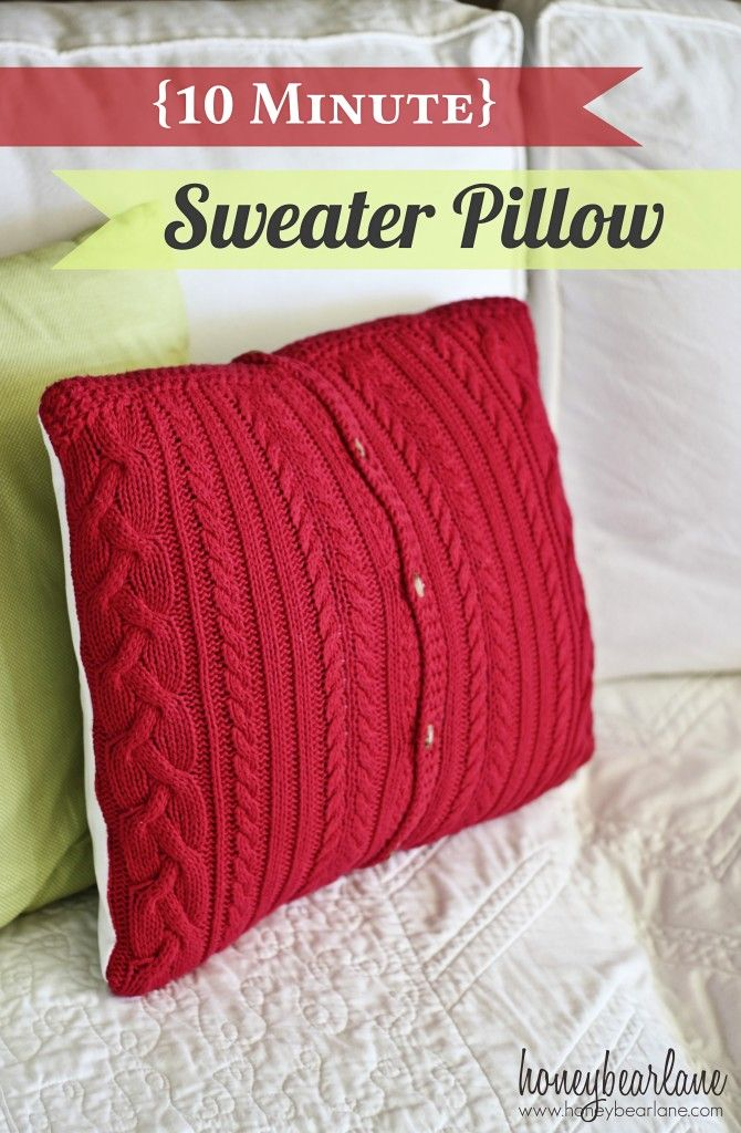 10 minute sweater pillow~cut the arms off for boot socks, thinking i'll do this with the reest!