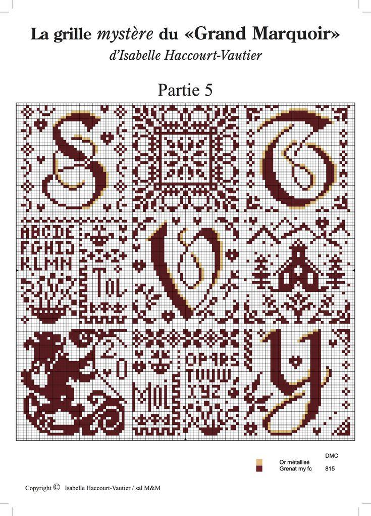 Cross stitch / Point de croix / Punto cruz / Punto croce - alphabet / abécédaire / abecedario / alfabeto - chart / grille / scheme - Grand Marquoir d'Isabelle Vautier - part 5 of 6