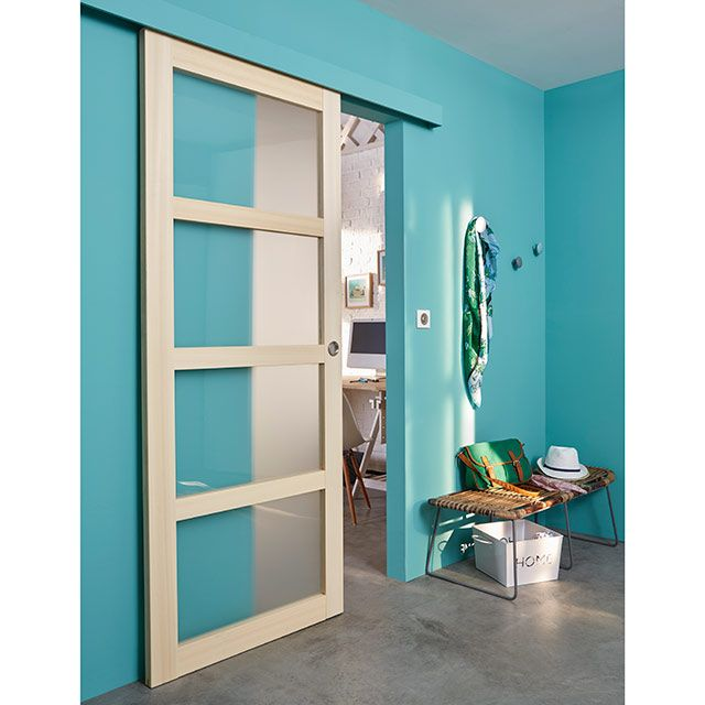 Ensemble syst me ol ni porte coulissante 4 carreaux for Porte interieur castorama