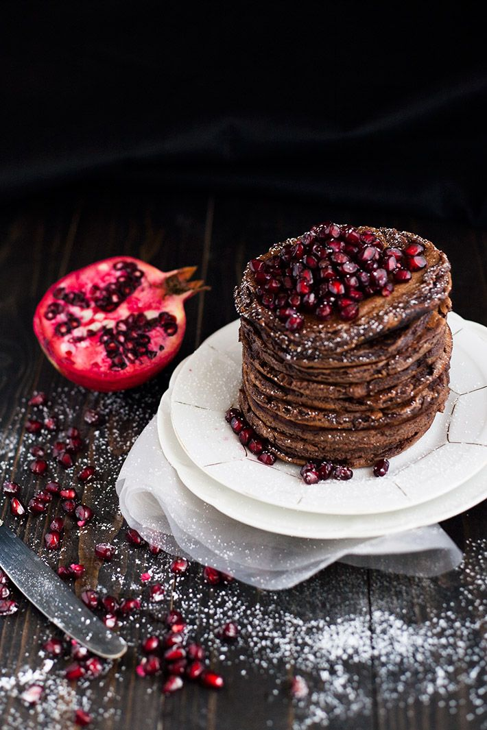 chocOlate pomegranate pancakes