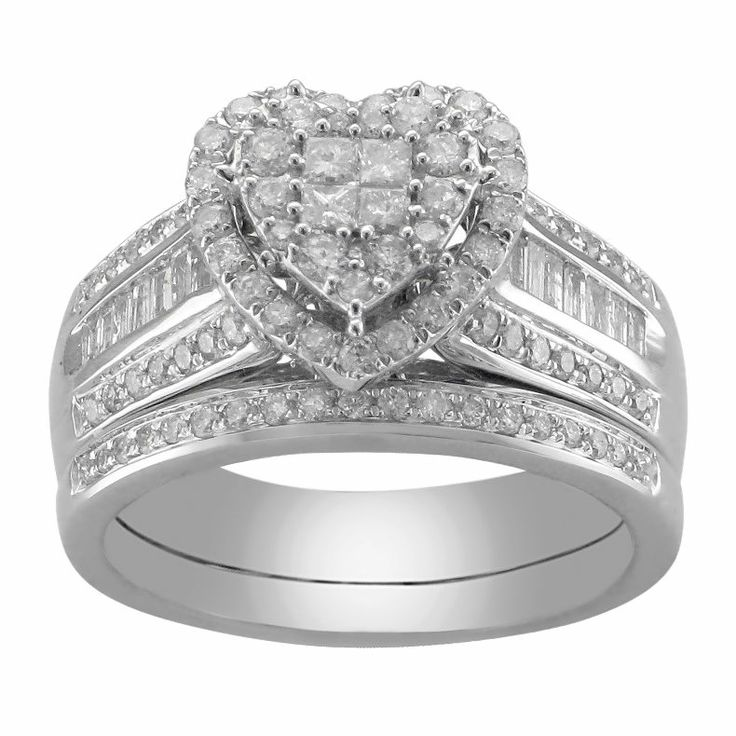Unique jcpenney CT T W Diamond Heart Bridal Ring Set jcpenney