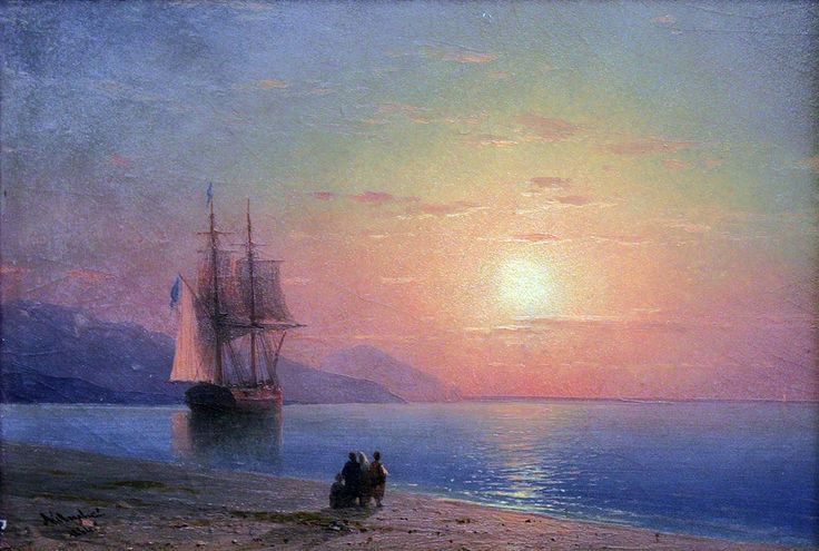 Ivan Konstantinovich Aivazovsky. At the Coast. Buy this painting as premium quality canvas art print from Modarty Art Gallery. #art, #canvas, #design, #painting, #print, #poster, #decoration