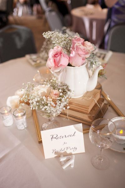 Simple, cute centerpiece for bridal tea party, wedding shower, etc. hey amy...