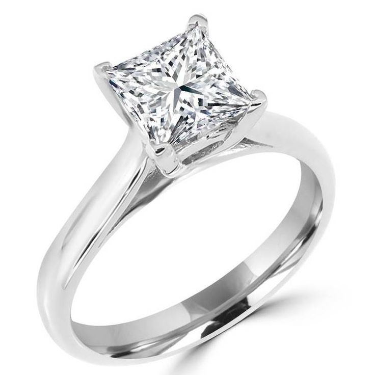 wedding stone engagement p four cut square brilliant rings diamond platinum ring in