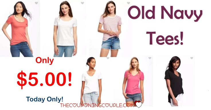 You are going to love this! Old Navy Tees for only $5.00! Save $5-$7! Grab new tees for the summer! TODAY ONLY!  Click the link below to get all of the details ► http://www.thecouponingcouple.com/old-navy-tees/ #Coupons #Couponing #CouponCommunity  Visit us at http://www.thecouponingcouple.com for more great posts!