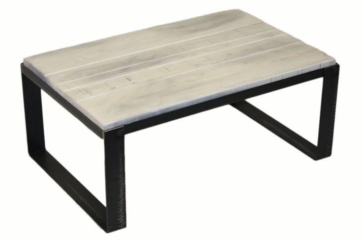 "Table basse en pruche ""gris nuage"" #table #living #room #acier #steel #meuble #furniture #industriel #industrial #design #wood #bois"