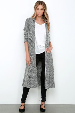 Warm but lightweight, the Somedays Lovin' Shrubs Grey Marl Coat gives you the best of both worlds! Tones of grey marl fabric form this unique wool-blend, woven coat, with collared neckline, pointed lapels, and draping open front. Long sleeves fall along the bodice that ends at a chic, long hem, finished with two welted pockets. Unlined. Self: 50% Wool, 50% Polyester. Lining: 100% Viscose. Machine Wash Cold. Imported.