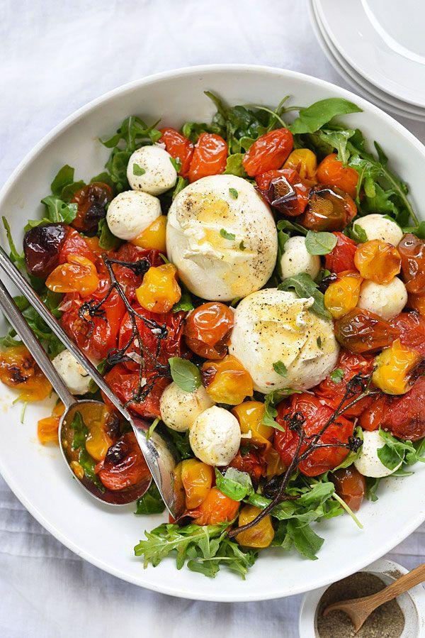 Roasted Tomato Caprese Salad   foodiecrush.com
