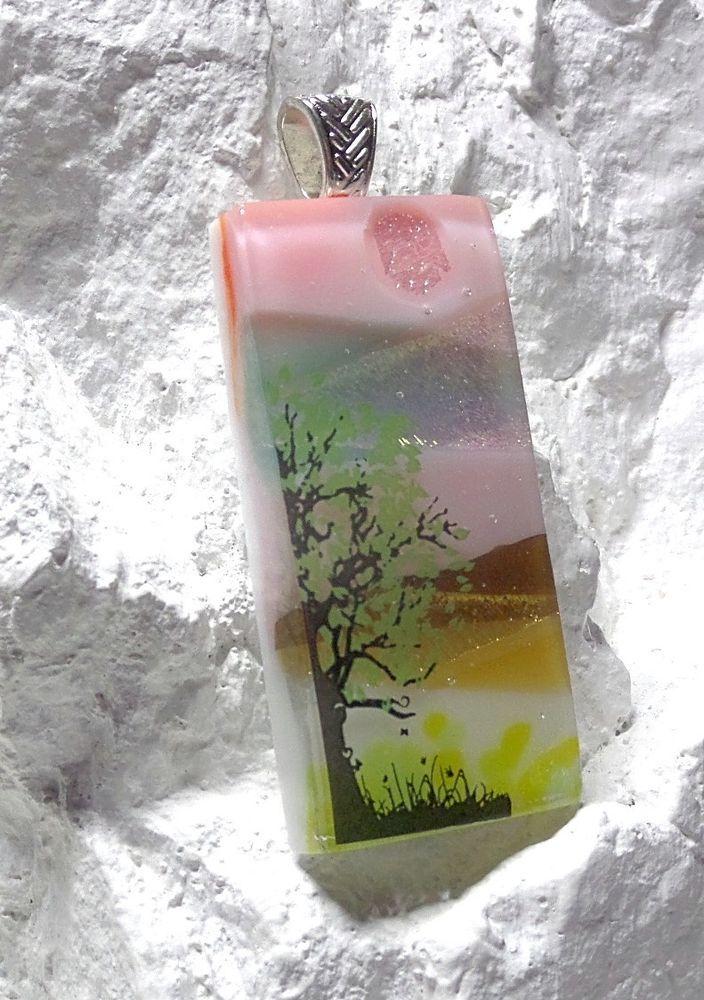 Dichroic Fused Glass Pendant A Simple Green Tree US Artisan Lolas Glass Pendants #LolasGlassPendants #PendantforNecklace
