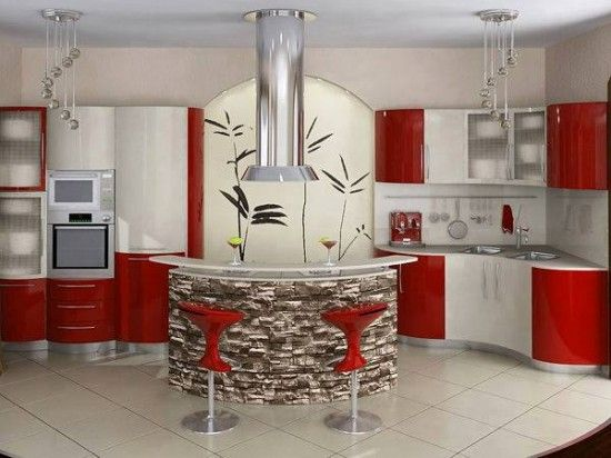 lüks kırmızı mutfak modeli ön resim