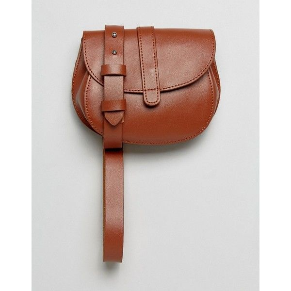 Reclaimed Vintage Inspired Tan Belt Bag ($42) ❤ liked on Polyvore featuring bags, handbags, shoulder bags, tan, leather purses, vintage purses, tan leather handbags, tan handbags and real leather purses
