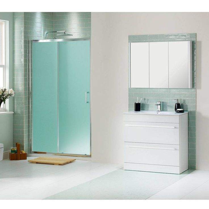Eye Catching Sliding Shower Doors For Elegant Bathroom : Frosted Shower Glass  Doors With White Washstand With 2 Drawers For Bathroom Design Ideas