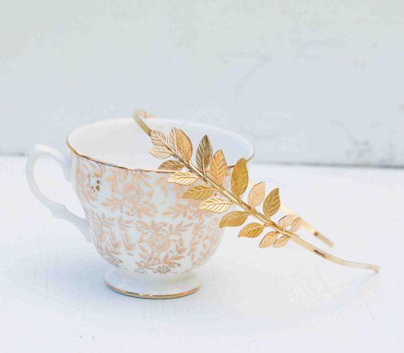 GOLD Headband Golden Leaf Wedding Grecian by redtruckdesigns