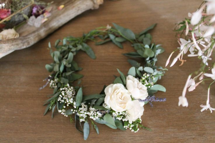 Eucalypust, baby's breath and white spray rose Flower Crown //  www.thecrowncollective.co