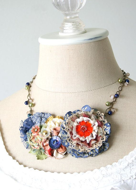 Colorful Statement Necklace Fabric Flower by rosyposydesigns, $86.00