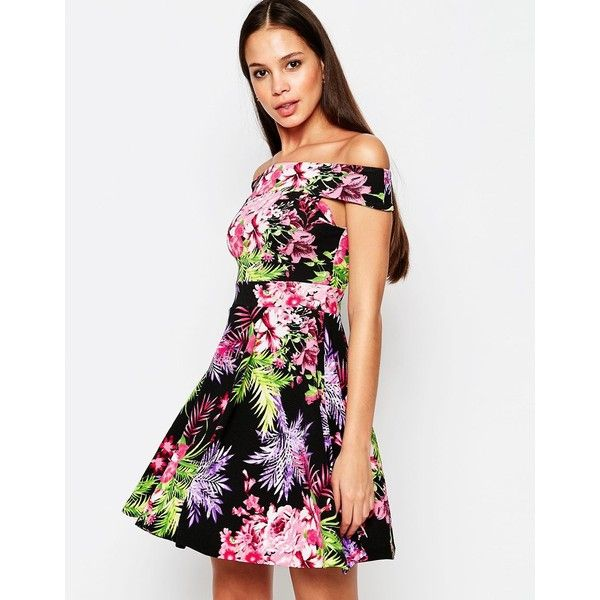 Vesper Posey Bardot Skater Dress in Tropical Print (£25) ❤ liked on Polyvore featuring dresses, pink, white skater dress, pink skater dress, tropical print dress, pink dress and vesper dresses