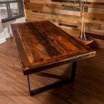 "Barn wood table top and metal U shaped ""legs"""