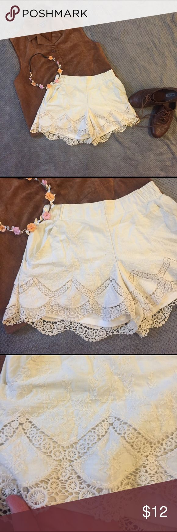 Cream Lace Shorts Super cute and flattering cream shorts with lace detail. They are comfy, super gently used, elastic waist. Xhilaration Shorts