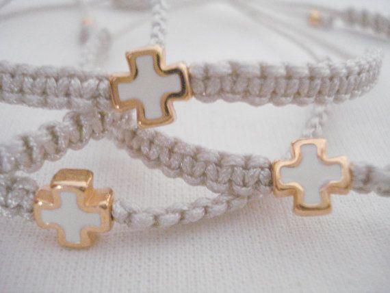 Cross friendship bracelet Martirika Baptism favors by Poppyg