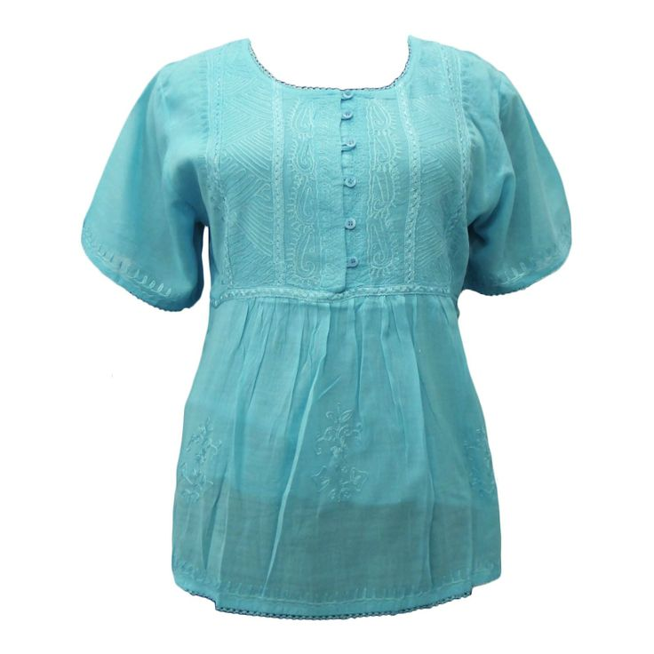Light Blue embroidered #top in sheer see through cotton fabric that will be a perfect #beach #coverup for you