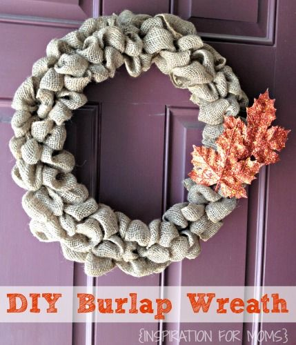Fall Burlap Wreath from Inspiration for Moms via Mrs. Hines class