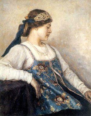 """История возникновения повязки для волос берет свое начало с Древней Руси. В те далекие времена женщине не разрешалось ходить с распущенными волосами без головного убора, поэтому вместо платка носили """"налобник"""" (так раньше называли повязку). Повязки были изготовлены из бархата, парчи и шелка. Украшением такого элемента гардероба служила вышивка. Существовал и более дорогой вариант """"налобника"""" с нашитыми сверху дорогими бусинками и жемчугом. Это была часть свадебного наряда."""