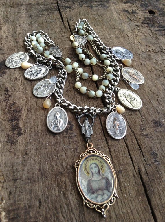 Vintage Upcycled Religious Medals Assemblage Necklace, Women Saints Mother of Pearl Rosary Assemblage,OOAK,Repurposed on Etsy, $139.00