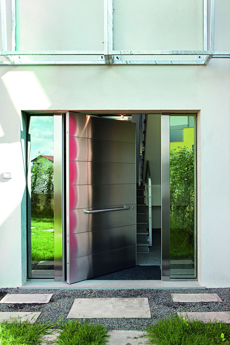 Stainless steel modern entry door