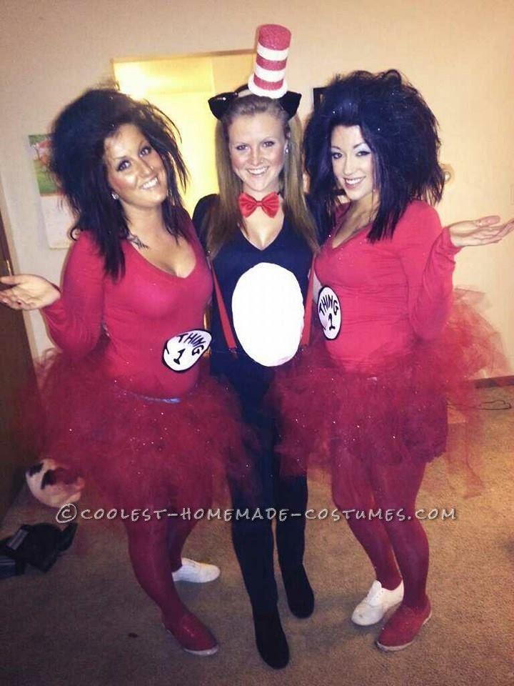 Last-Minute Sexy Girls Group Costume: Thing 1, Thing 2 and Cat in the Hat... This website is the Pinterest of costumes