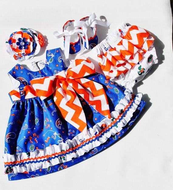 FLORIDA GATOR FANS-Baby Girl Florida Gator Dress Set sz nb 18mo by Outtahand on Etsy,