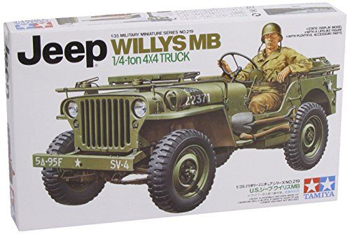 Tamiya 1:35 Jeep Willys MB 1/4 Ton 4x4 Truck  Without a doubt the Jeep Willys MB occupies a significant position in the whole automotive history. The origin of the Jeep vehicle dates back to early 1941, when U.S. Forces ordered the Willys, Ford, and Bantam companies to develop prototypes of a small sized multi-purpose 4-wheel drive vehicle.