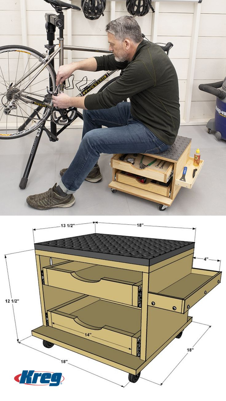 Rolling Work Seat and Tool Storage Cart