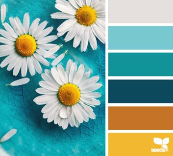 Possible color scheme, bu might be too modern/bright...  Kitchen/dining room/living room
