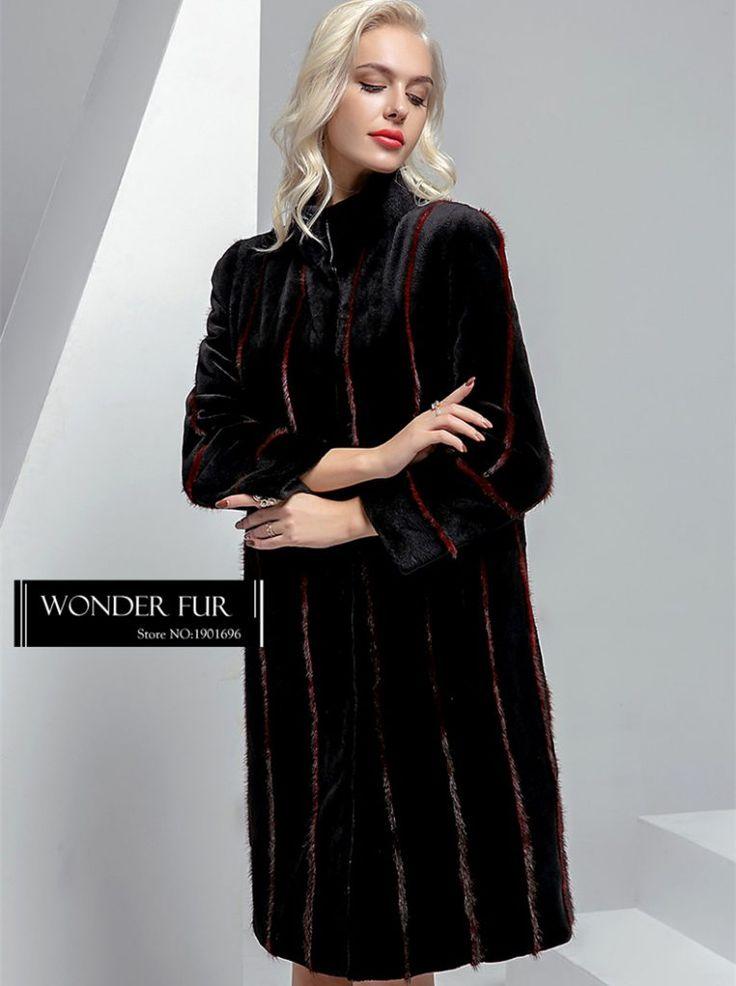 Unique Style Mink Fur Down Garment Double Face Fur Coat For Lady Extra Long Strips Mink Fur Overcoat Reversible Down Jacket