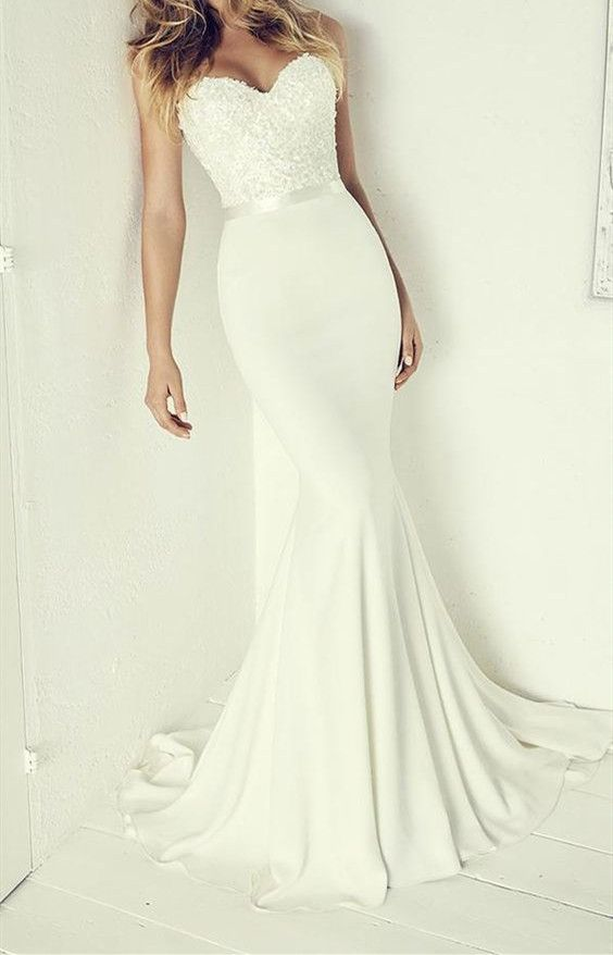 Sexy Sweetheart neck Appliques Mermaid Wedding Dresses Bridal Gowns