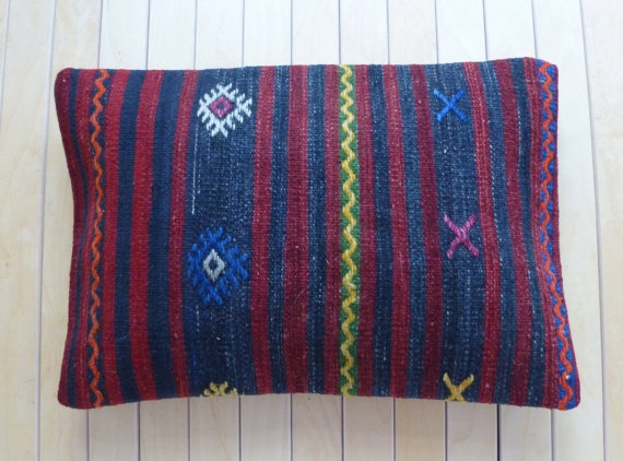 Throw pillow with stripes and ethnic design by PillowTalkOnEtsy, $34.00