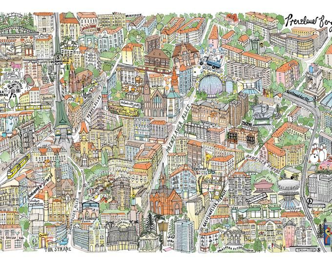Berlin Illustrated Map Print Berlin Photo City Photo