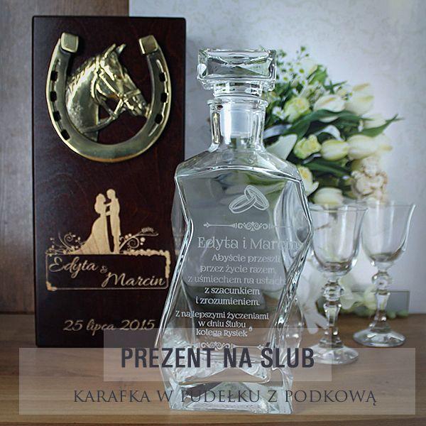 Piękny zestaw karafka w pudełku z podkową na szczęście dla młodej pary.http://bit.ly/1MVbpKF