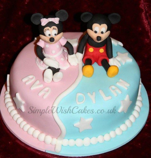 24 Marvelous Photo Of Twin Birthday Cake Boy And Girl Em 2020