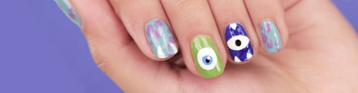 Rock this Mike and Sulley Monsters, Inc. nail art to celebrate the film's 15th anniversary.
