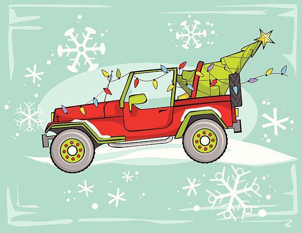 Four Wheel Drive Christmas Vector Art Illustration Illustration